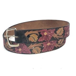 Accessories - Boho Festival Tooled floral Leather Belt size S